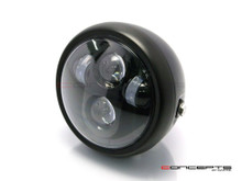 6 INCH Matte Black Quad LED Projector Cafe Racer Metal Headlight