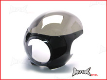 Black Cafe Racer Drag Racer Headlight Fairing + Smoked Windshield