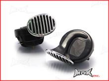 Black + Chrome Grill Universal 12v Dual Tone Snail Horns