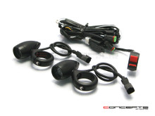 Matte Black Aluminium Bullet Spot / Fog Lights + Complete Wiring Kit + Fork Clamps - 32/33mm