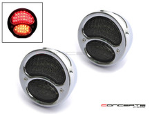 Pair Of Chrome Vintage Style Integrated LED Stop + Tail + Turn Signals - Smoked Lense