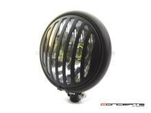 "5.75"" Bates Style Prison Grill Matte Black Metal Headlight - 12v / 55w Halogen Bulb"