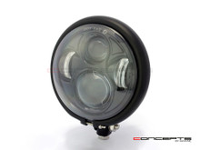 "5.75"" Bates Style LED Daymaker Matte Black Metal Headlight"