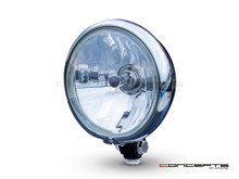 "5.75"" Bates Style Chrome / Gloss Black Metal Headlight - 12v / 55w"