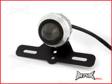 Polished Aluminium Studded Retro Style LED Stop / Tail Light - Smoked Lens