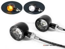Black CNC Machined Billet Alum Classic Integrated LED Turn Signals + Daytime Running Lights