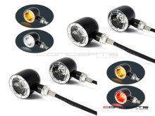 Set Of 4 Black + Alum Bezel CNC Machined Billet Alum Classic Integrated Front & Rear Turn Signals