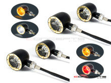 Set Of 4 Black + Brass Bezel CNC Machined Billet Alum Classic Integrated Front & Rear Turn Signals