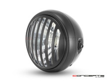 "6"" Matte Black Universal Metal Headlight + Prison Grill - Emarked"