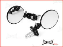 Black Round Aluminiun Folding Bar End Mirrors