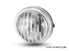 "6"" Matte Black & Chrome + Prison Grill Metal Classic Headlight - Emarked"