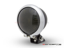 Matte Black + Chrome Mini Bates LED Stop / Tail Light - Smoked Lens