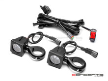 Cube 10W LED Spot Lights + Wiring Harness + Switch + Fork Clamps - 32/33MM