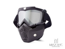 Open Face Helmet Bikers Full Face Mask / Goggles - Sliver Lens
