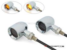 "MAX ""DERBY"" Chrome CNC Machined Alum Classic Mini LED Indicators / Turn Signals"