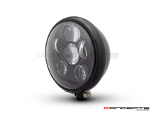 "5.75"" Bates Style LED Six Projector Gloss Black Metal Headlight"