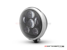 "5.75"" Bates Style LED Six Projector Gloss Black + Chrome Metal Headlight"