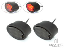 Classic Matte Black Metal Oval Smoked Lens LED Stop / Tail Lights - Pair