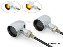 "MAX ""DERBY"" Chrome + Black CNC Machined Alum Classic Mini LED Indicators / Turn Signals"