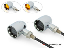"MAX ""DERBY"" Chrome + Black Contrast CNC Machined Alum Classic Mini LED Indicators / Turn Signals"
