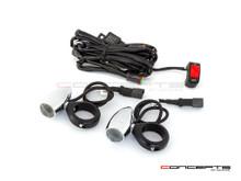 Chrome Aluminum Bullet Spot / Fog Lights + Complete Wiring Kit + Fork Clamps - 48/49mm