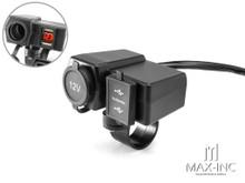 Universal Handlebar Mount 12v Socket + Twin USB + Voltmeter Power Supply- Fits 22-25mm Bars