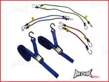 Motorcycle Tie Down Strap & Bungee Cord Set - 8 Pieces
