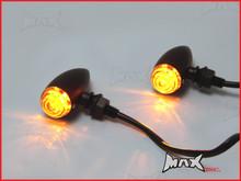 Matte Black Aluminium Classic Bullet LED Turn Signals / Indicators - Smoked Lense