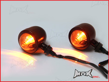 Matte Black Metal Classic Bullet Turn Signals / Indicators - Smoked Lense - Bulb Type