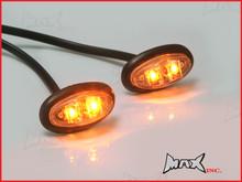 AMBER 12v Oval Flush Mount LED Mini Marker Lights