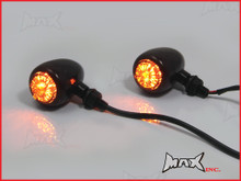 Black Alloy Classic LED Turn Signals / Indicators - Smoked Lense