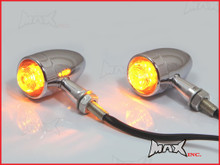 Chrome Aluminium Torpedo LED Turn Signals / Indicators - Orange Lense