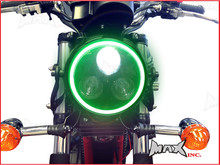 Black Metal 3 Eye LED Headlight Integrated Green LED DRL Angel Eye