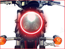 Black Metal 3 Eye LED Headlight Integrated Red LED DRL Angel Eye