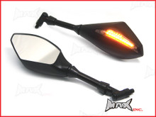 Pair Of Universal Black Wing Mirrors Integrated LED Turn Signals - M10 Right Thread