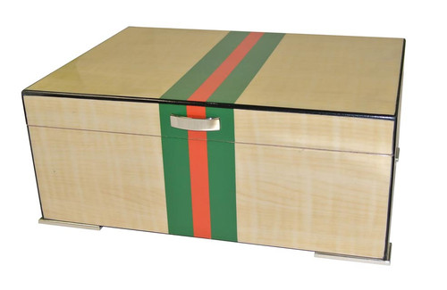 Regio Red and Green Striped Desktop Humidor - 75 Cigars - Exterior