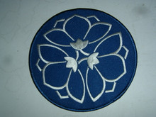 Medium Lotus Embroidered Patch (Blue / White)