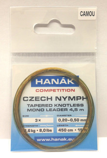 Hanak Competition Czech Nymph Knotless Leaders 15' 3X Camou