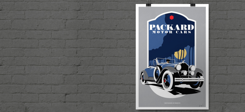 Limited Edition Prints are now available of this beautiful 1928 Packard Roadster. Each is signed and numbered by the artist.