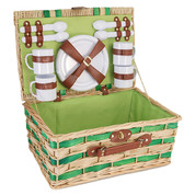 Suitcase-Style Willow Picnic Basket for 4