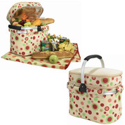 Picnic Cooler Basket with Insulated Lining and Rug