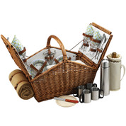 Picnic at Ascot - Huntsman Basket for 4 w/ Coffee Set & Blanket