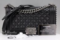 CHANEL Black Lambskin Boy Flap Bag Ruthenium Hw #18261442 *New