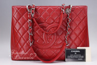 CHANEL Red Caviar Grand Shopping Tote GST Silver Hw #17118967