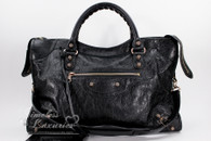 BALENCIAGA Black Giant 12 City Bag Rose Gold Hardware
