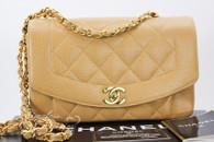 CHANEL Beige Caviar 'Vintage Chic' Diana Flap Bag Gold Hw #2851995