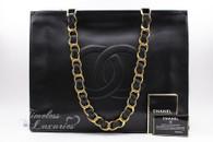 CHANEL Black Lambskin Vintage XL Jumbo Tote Gold Hw #3674119