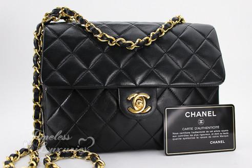Chanel Black Lambskin Mini Classic Flap Bag Gold Hw 1224301 Image 1
