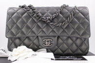 CHANEL 14B Charcoal Grey Metallic Goatskin Classic Double Flap Bag #19999702