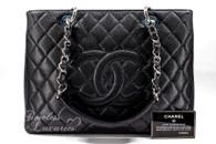 CHANEL Black Caviar Grand Shopping Tote GST Silver Hw #18996565 *New